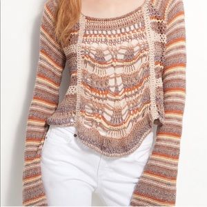 FP crochet boho striped bell sleeve sweater